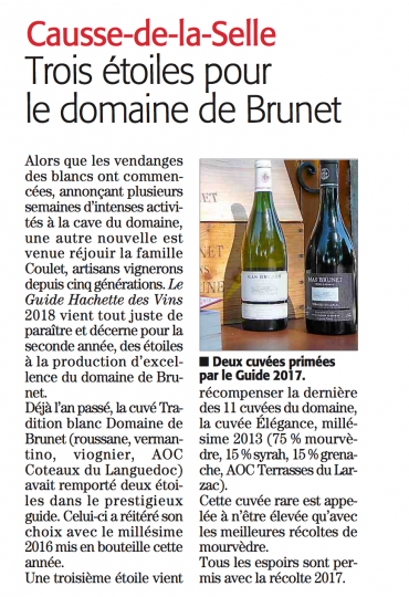 Deux cuvées récompensées par le Guide Hachette des vins 2017 pour le Mas Brunet