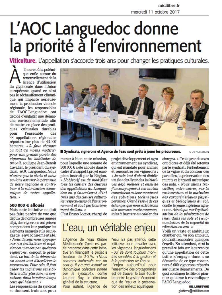 L'AOC Languedoc donne la priorité à l'environnement