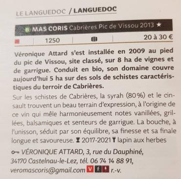 Pic de Vissou dans le Guide Hachette - Mas Coris