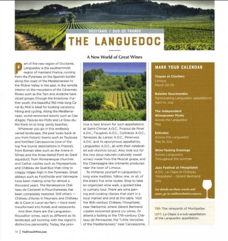 NY Times - décembre 2017 - vins du Languedoc
