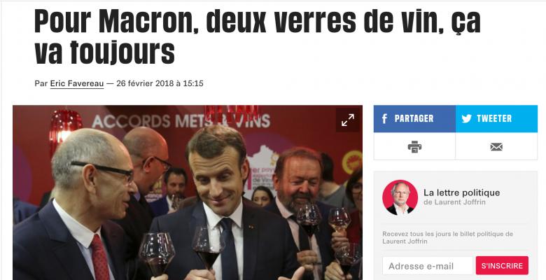 Emmanuel Macron bois du vin midi et soir - Libération, février 2018