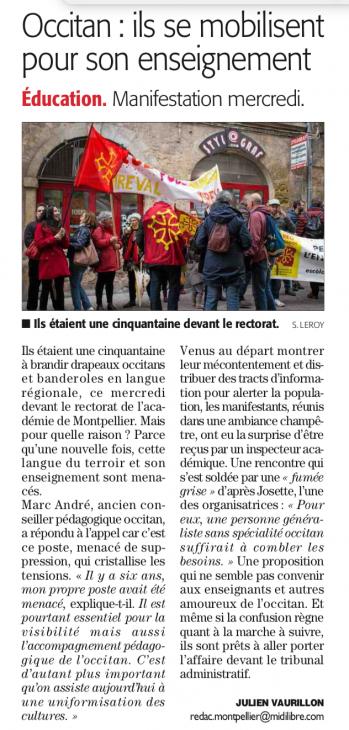 Préservation de la langue occitane - Midi Libre jeudi 5 avril 2018