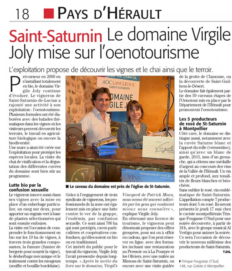 Virgile Joly - Midi Libre du 29 avril 2018