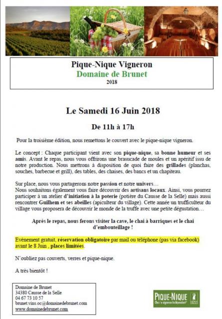 Pique-nique vigneron au domaine de Brunet - 16 juin 2018
