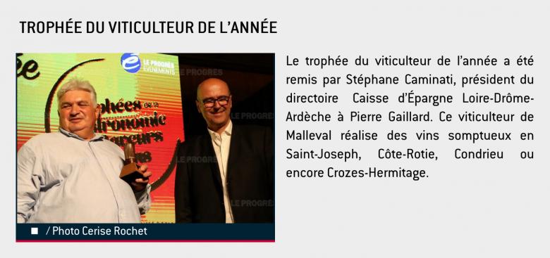 Trophée du viticulteur de l'année - Pierre Gaillard - Les Trophées de la gastronomie, des saveurs et des vins 2019
