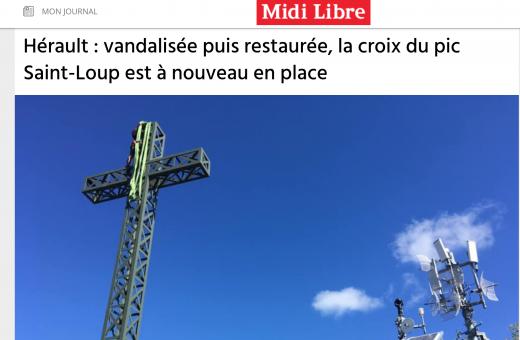 La croix du Pic Saint Loup de nouveau en place - Midi Libre juillet 2020