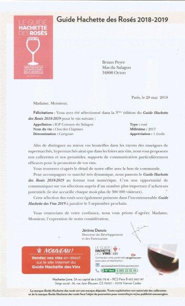 Guide Hachette des rosés 2018 - Clos des Clapisses