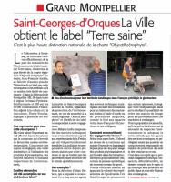 """""""Terre saine"""" à St Georges d'Orques - Zérophyto - Midi Libre 10 novembre 2017"""