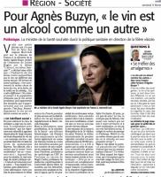 """""""Le vin est un alcool comme un autre"""" - Agnès Buzyn - Midi Libre 9 février 2018"""