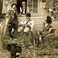 Three cotton bluesers and The washing machine
