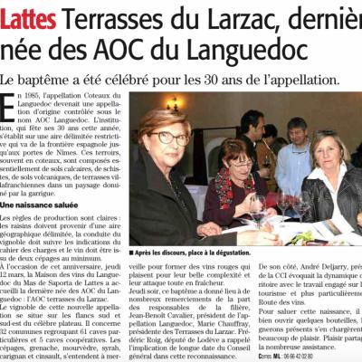 Baptême de l'AOC Terrasses du Larzac à la Maison des vins du Languedoc au Mas de Saporta - mars 2015 - Midi Libre © (c) Midi Libre