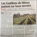 Demande de reconnaissance de deux territoires en Costières de Nîmes - Midi Libre - février 2017
