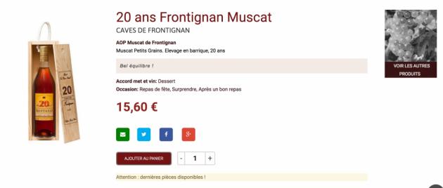 20 ans d'âge - Muscat de Frontignan - Boutique en ligne Trinque Fougasse