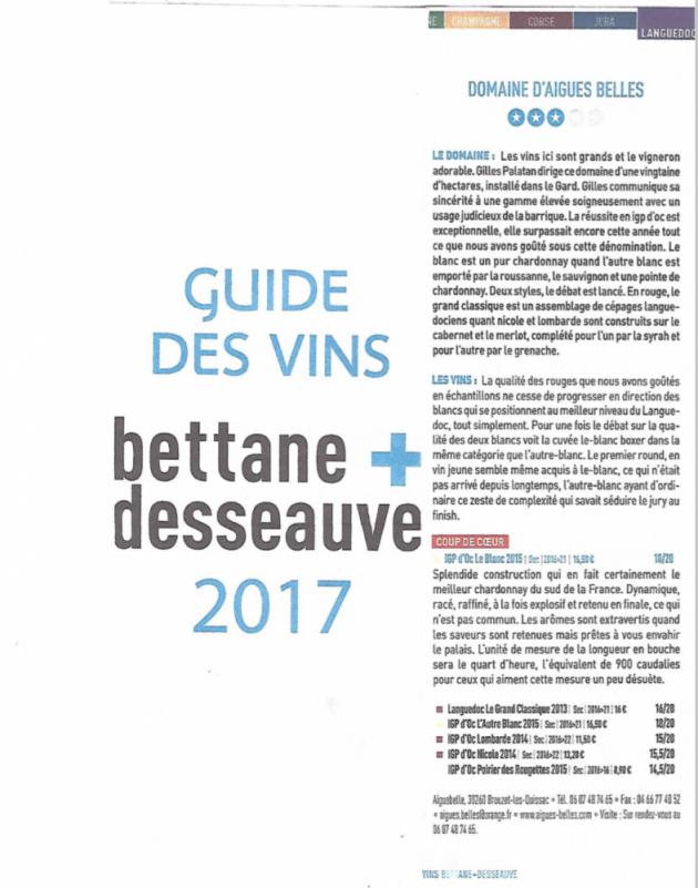 Aigues-Belles, coup de coeur du Guide Bettane+Dessauve 2017