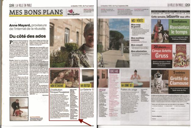 Anne Mayard, proviseure de l'internat de la réussite, mentionne Trinque Fougasse dans La Gazette de Montpellier - sept.2016