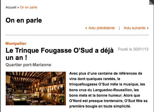 Article de Vent Sud - 1 an TF O'Sud - Janvier 2013 © http://www.ventsud.com/Actualites/Le-Trinque-Fougasse-O-Sud-a-deja-un-an-_177.html