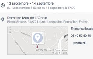 Atelier vendanges au Mas de l'Oncle - 13 et 14 septembre 2014 - Pic Saint Loup - coordonnées