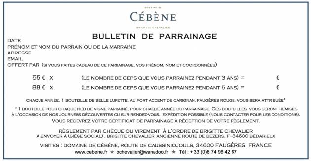 Bulletin de parrainage d'une vigne - Domaine de Cébène