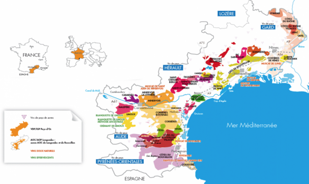 Carte Languedoc Roussillon - répartition des ventes par types de vins © Capital.fr