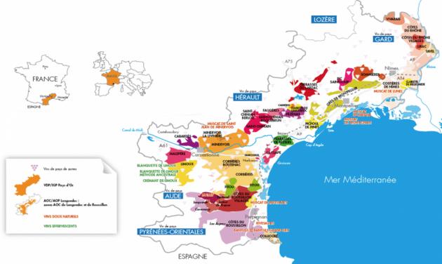 Carte Languedoc Roussillon - répartition des ventes par types de vins © Capital.fr