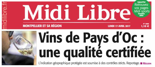 Certification des IGP PAYS D'OC - Midi Libre du 17 avril 2017