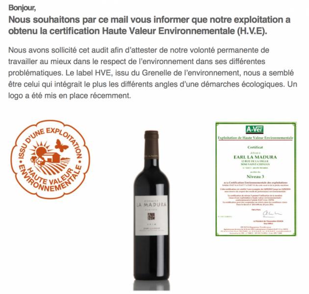 Certification Haute Valeur Environnementale pour La Madura - Mai 2015