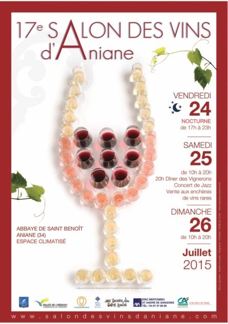 Charles Fontes et Cyril Attrazic, deux Chefs étoilés au 17ème Salon d'Aniane - 24, 25 et 26 juillet 2015 - affiche officielle