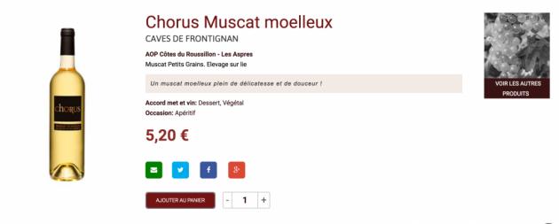 Chorus Muscat Moelleux - boutique en ligne Trinque Fougasse