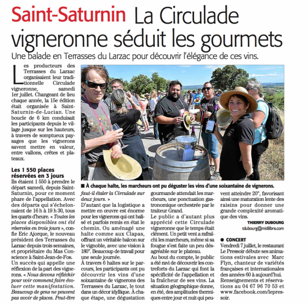 Circulade en Terrasses du Larzac 2017 - Midi Libre - Blog Trinque Fougasse
