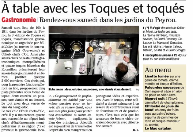 Cl'hub Chefs d'Oc - Toques et toqués - 26 septembre 2015 au Jardin du Peyrou à Montpellier - Blog Trinquefougasse