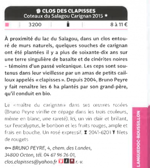 Clos des Clapisses rosé dans le Guide Hachette 2016 (photo by Wine LR)
