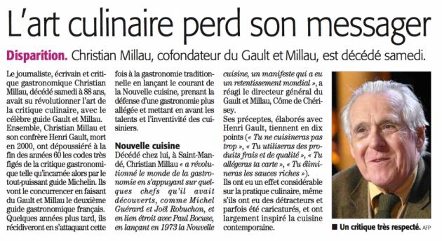 Décès de Christian Millau via MIDI LIBRE