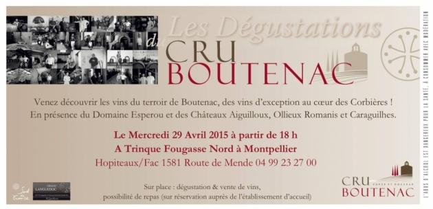 Dégustation Cru Boutenac chez Trinque Fougasse O'Nord le 29 avril 2015