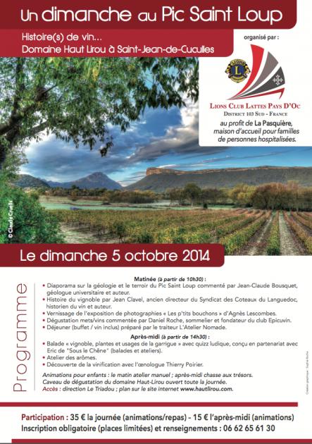 Dimanche 5 octobre 2014- Balade en Pic Saint Loup - Découverte - Lions Club Lattes Pays d'Oc