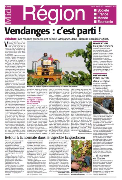 Domaine Colombette - Vincent et François Pugibet - MIDI LIBRE 12 août 2014