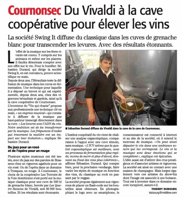 Du Vivaldi dans les cuves à Cournonsec - Midi Libre 22 octobre 2015