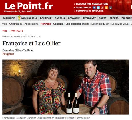 Françoise et Luc Ollier dans le Point - juin 2014 - Ollier Taillefer