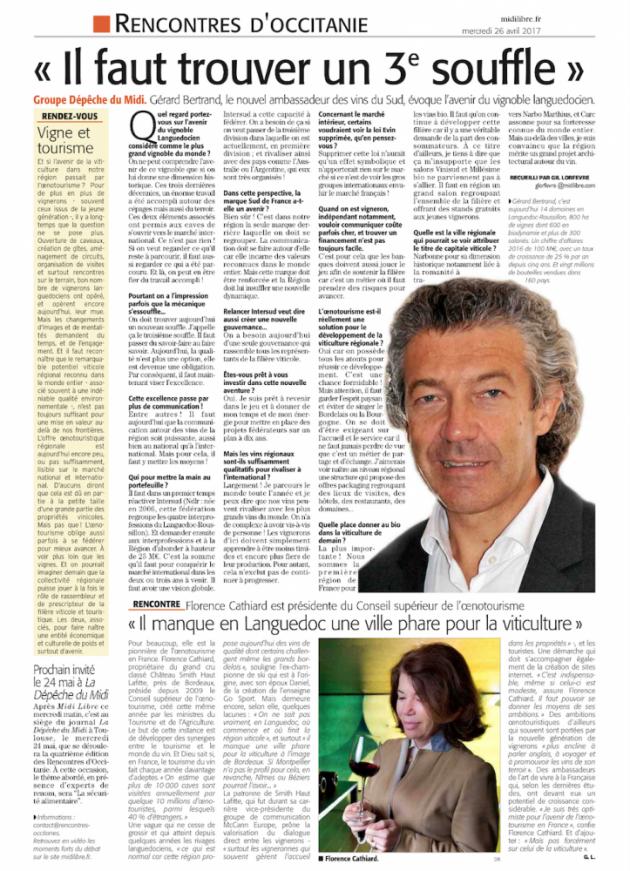 Gérard Bertrand - Midi Libre avril 2017 - Rencontres d'Occitanie