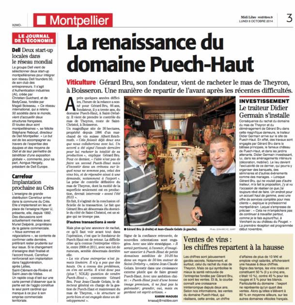 Gérard Bru - Renaissance de Puech Haut - Midi Libre du 6 octobre 2014