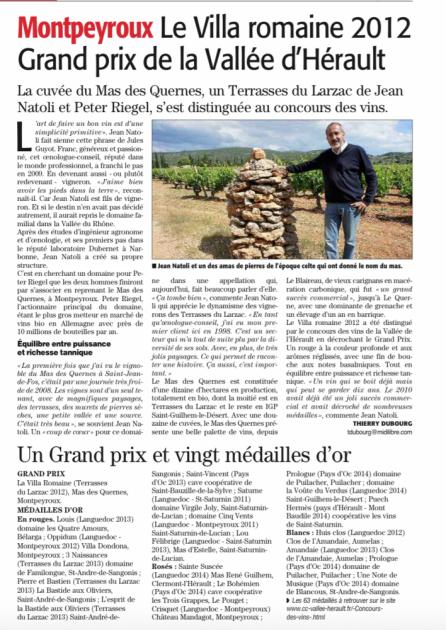 Grand Prix de la Vallée de l'Hérault pour Le Mas des Quernes - juin 2015