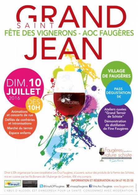 Grand St Jean 2016 à Faugères - 10 juillet - Fête vigneronne