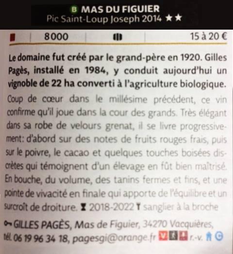Guide Hachette des vins 2017 - Joseph 2014 du Mas de Figuier récompensé - BLOG Trinquefougasse