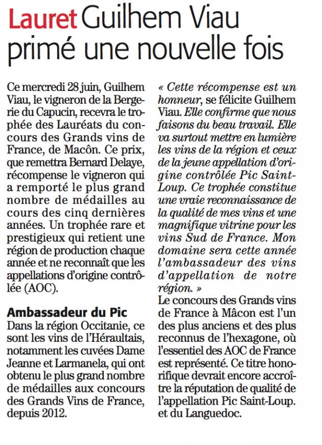 Guilhem Viau - Trophée du Concours des Grands Vins de France 2017 via Midi Libre © Midi Libre