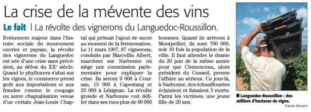 Histoire - la révolte des vignerons du Languedoc Roussillon - Midi Libre juillet 2015 © (c) Midi Libre
