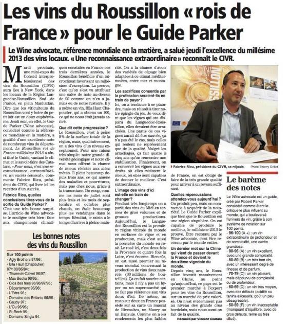 Jeb Dunnuck dévoile ses notes sur le millésime 2013 en Roussillon - Wine Advocate - Robert Parker