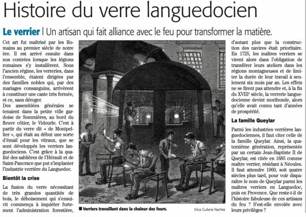 L'histoire des artisans verriers du Languedoc - Midi Libre juilley 2015 © (c) Midi Libre