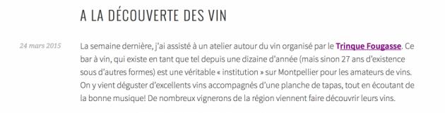 la bloggueuse Plum Blossom teste l'école du vin - Mars 2015