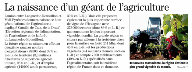 La nouvelle grande Région et l'oenotourisme - Midi Libre © Midi