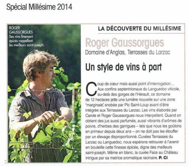 Le Domaine d'Anglas dans la Revue des Vins de France (juin 2015) - Millésime 2014