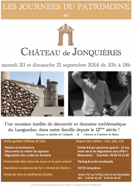 Les Journées du Patrimoine au Château de Jonquières - 20 et 21 sept. 2014